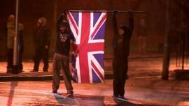Children waving flag