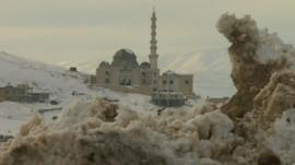 Snow surrounds a mosque in Lebanon