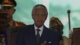 Nelson Mandela is sworn in as president of South Africa