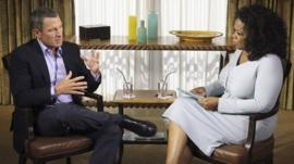 Photo of Lance Armstrong interviewed by Oprah Winfrey provided by Harpo Studios Inc