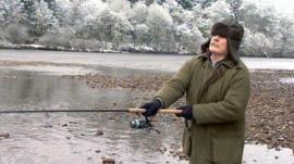 Angler on the banks of the River Tay