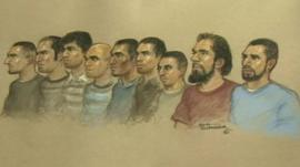 Court sketch of the nine accused men