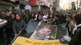 Crowds at the funerals of three female Kurdish activists