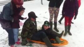 Children enjoying the snow