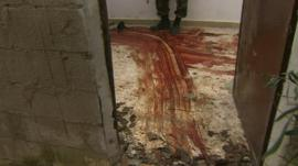 Blood streaks on ground
