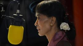 Aung San Suu Kyi talking to the BBC in 2012