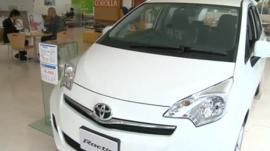 Toyota car in showroom