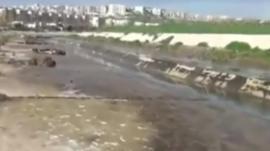 River bank where bodies of men found in Aleppo, Syria