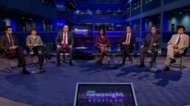 Humza Yousaf MSP, Ruth Davidson MSP, Gina Netto, BBC Scotland's Glenn Campbell, Aamer Anwar, Jakob Oszczepalinski and Colin Lee