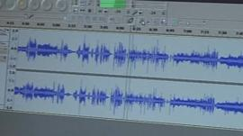 Waveforms on computer screen