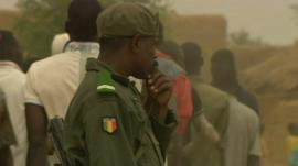Malian men in military training
