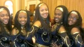 Hadiya Pendleton (centre) with her friends, preparing for President Obama's inauguration