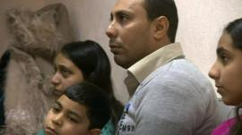 Asylum seeker Victor Schata-Michael and his family
