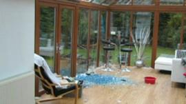 The ball of ice smashed into a conservatory in Clanfield, Hampshire