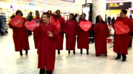 Choir singing at Gatwick Airport