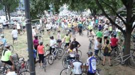 Cyclists on a ride organised in Washington DC by bike store Bicycle Space