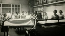Young women working in a Magdalene laundry