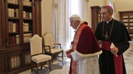 Pope Benedict XVI with his secretary Georg Gaenswein