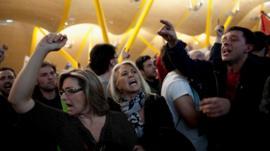Spanish Airline Iberia staff protest against job cuts