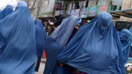 Burqa-clad Afghan women in Kabul
