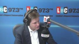 Nick Clegg during the phone-in on LBC