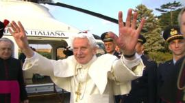 Pope Benedict XVI waving goodbye
