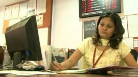 Bank worker in India