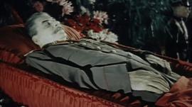 Joseph Stalin in an open coffin