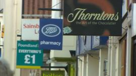 Shop signs on high street