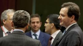 George Osborne, right, speaks with Italian Economy Minister Vittorio Grilli