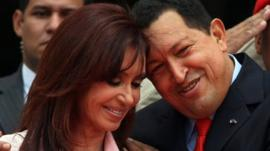 Venezuelan President Hugo Chavez embraces his Argentine counterpart Cristina Fernandez de Kirchner in March 2008