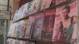 Bang magazine on a shelf in Zambia
