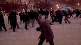 Woman hit by snowball