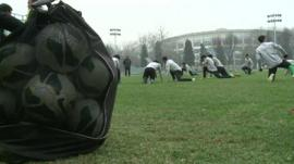 Footballers training