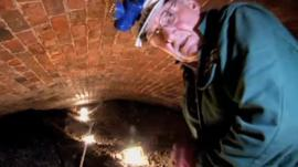 Volunteer inside Liverpool's Williamson Tunnels
