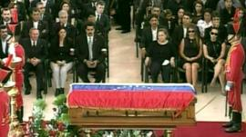 The coffin and mourners at Hugo Chavez's funeral