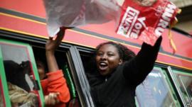 Uhuru Kenyatta supporters celebrate
