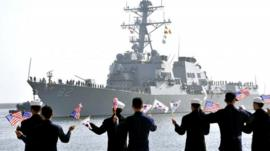 USS Lassen arrives to participate in the annual joint military exercises between the US and South Korea