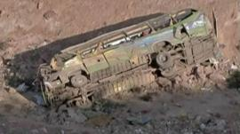 The crashed bus in southern Peru