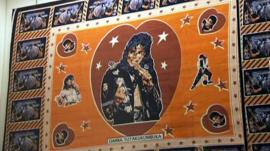 An African textile showing the late Michael Jackson