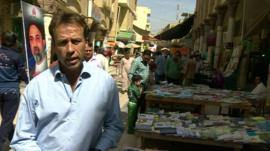 Ben Brown in Baghdad book market