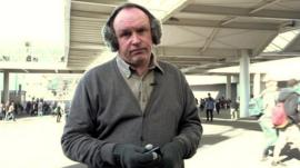David Reid wearing Bluetooth earmuffs