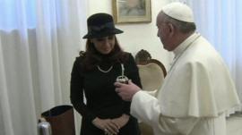 Argentine President Cristina Fernandez de Kirchner and Pope Francis
