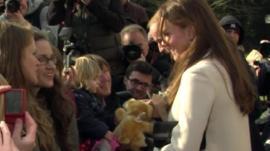 Duke and Duchess of Cambridge handed teddy bear