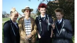 Students from Hove Park school with veteran punk Gary Turner