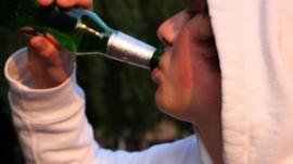 Boy drinking beer