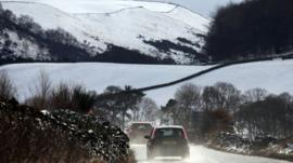 Drivers make their way in difficult conditions in the Scottish Borders