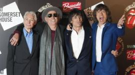 The Rolling Stones (L-R) Charlie Watts, Keith Richards, Ronnie Wood and Mick Jagger