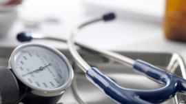 Doctor's equipment, a sphygmomanometer and stethoscope
