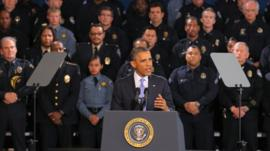 U.S. President Barack Obama addresses gun control issues during a speech at the Denver Police Academy